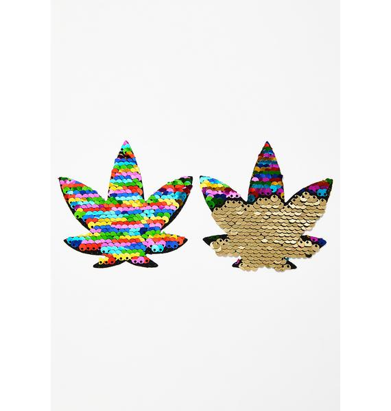 Neva Nude Funfetti Sequins To Gold Weed Leaf Pasties