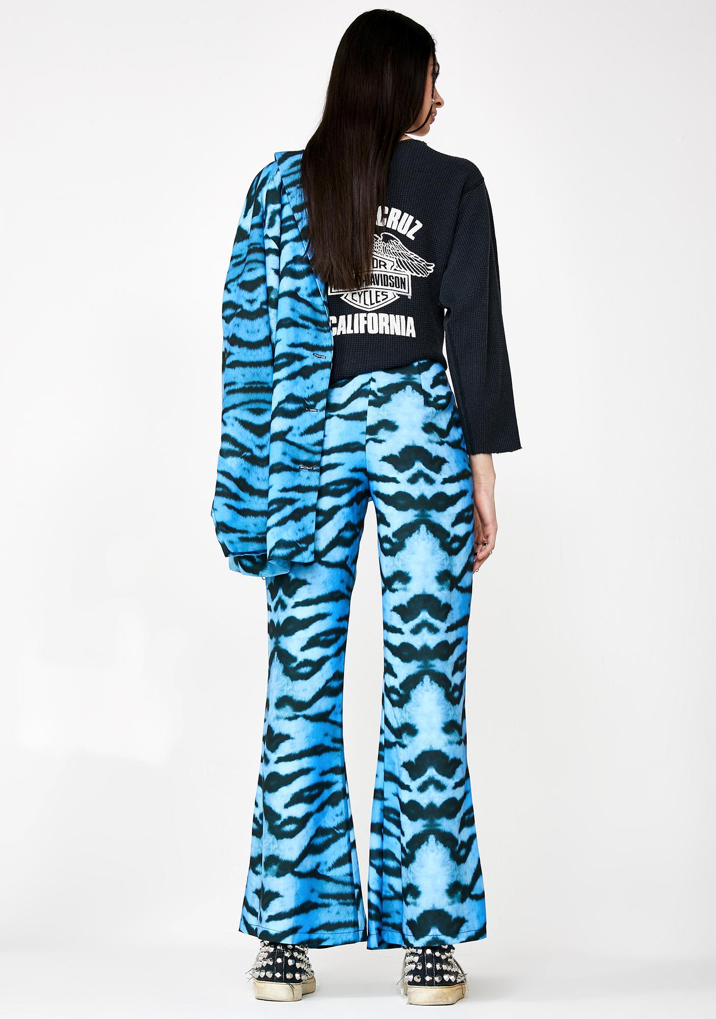 Milk It Tiger Print Flare Trousers
