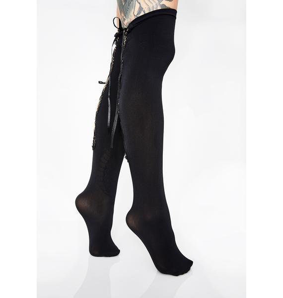 Naughty Nice Lace-Up Socks