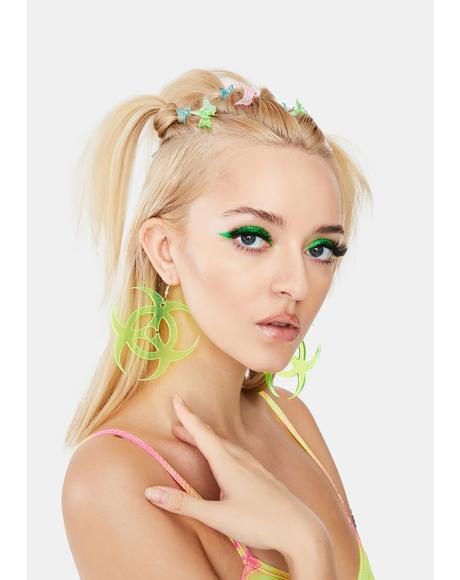 Neon Yellow Toxic Earrings