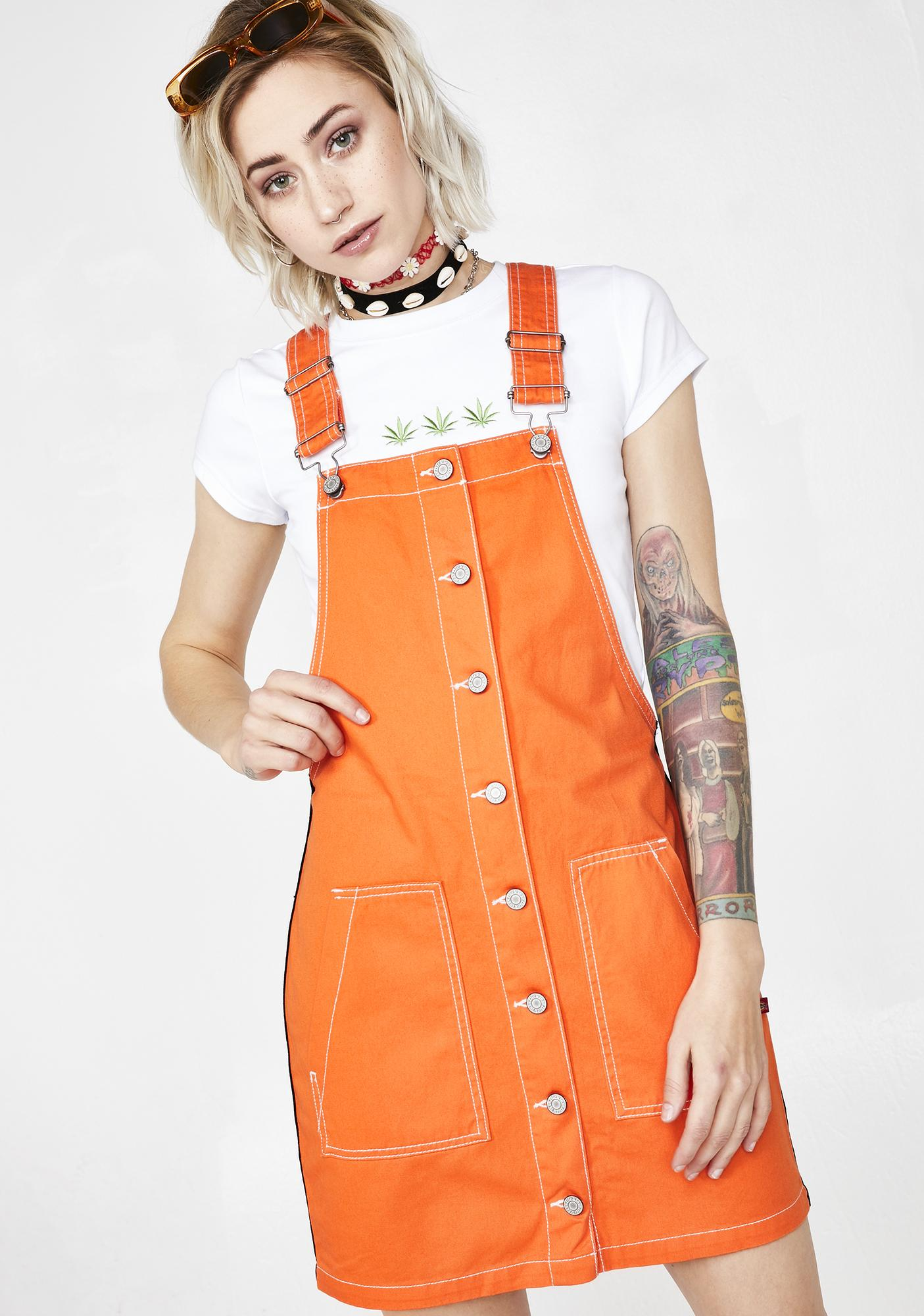 Dickies Girl Juicy Button Overall Side Stripe Dress