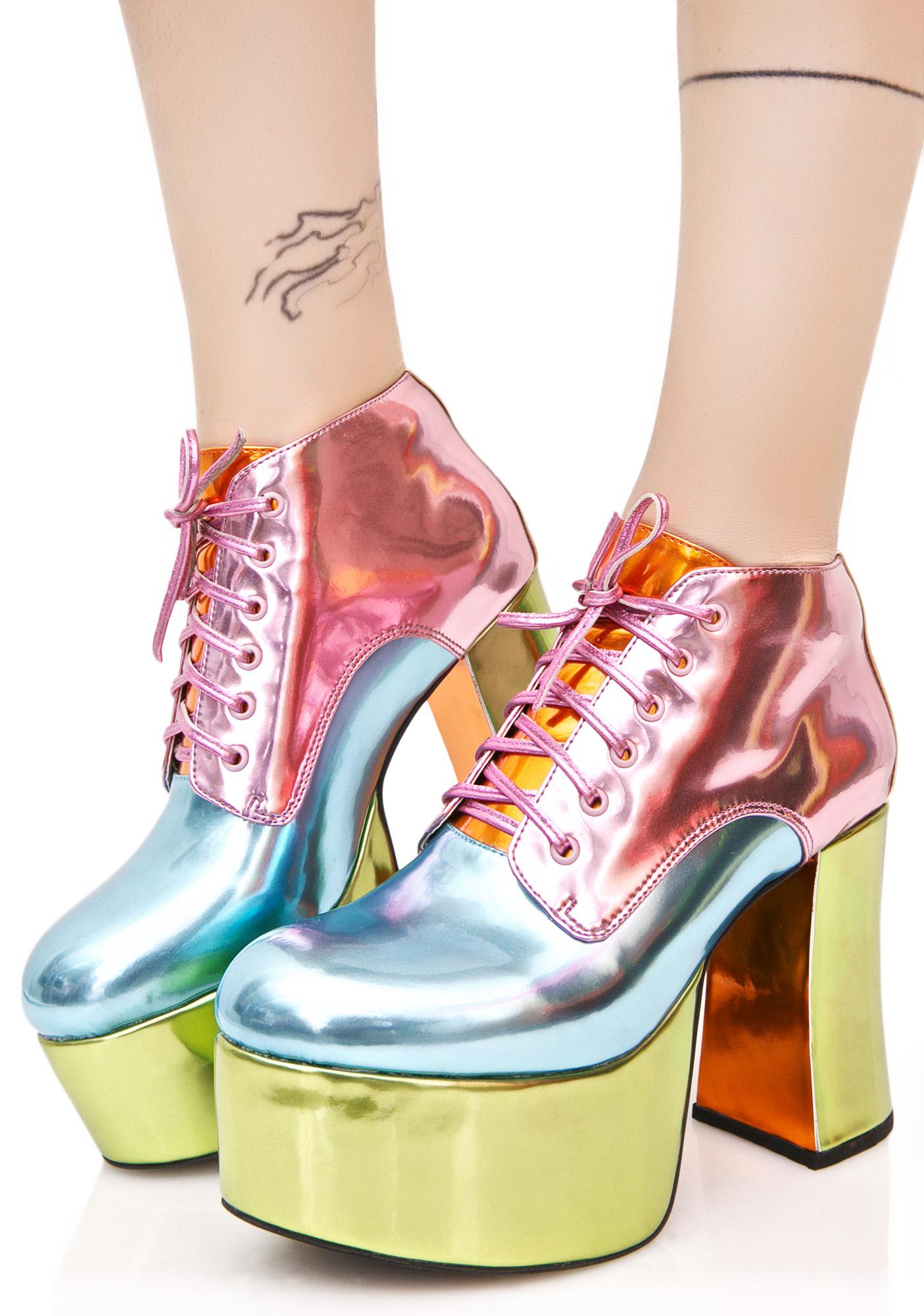 Metallic Pastel Rainbow Platform Heels