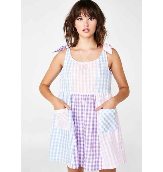 Lazy Oaf Gingham Panel Tie Dress