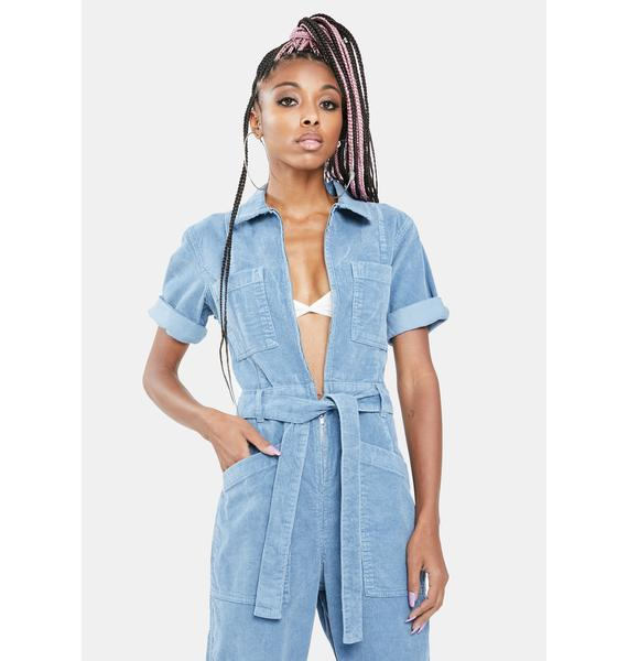 BDG Blue Cord Belted Boiler Suit