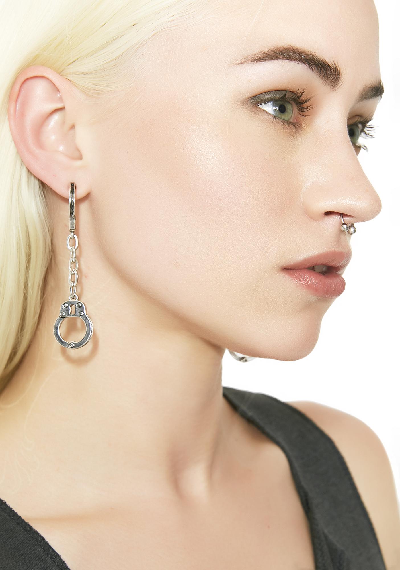 Handcuff Dangle Earrings Silver