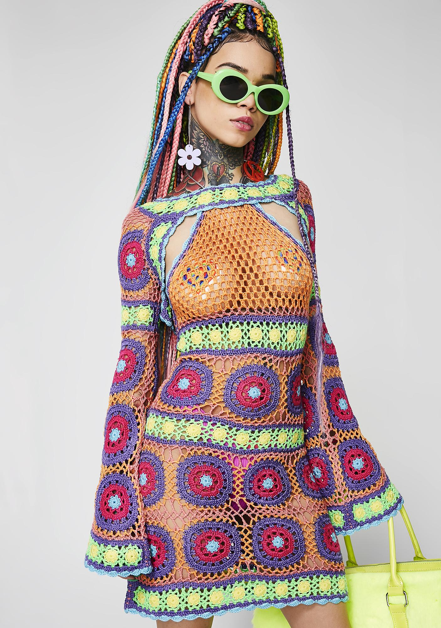 Current Mood Free Your Mind Crochet Dress