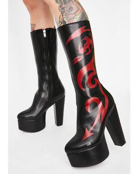 Red Dragon Platform Boots