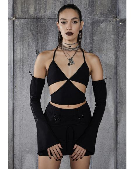 Snare Cut-Out Wrap Halter Top And Gloves Set