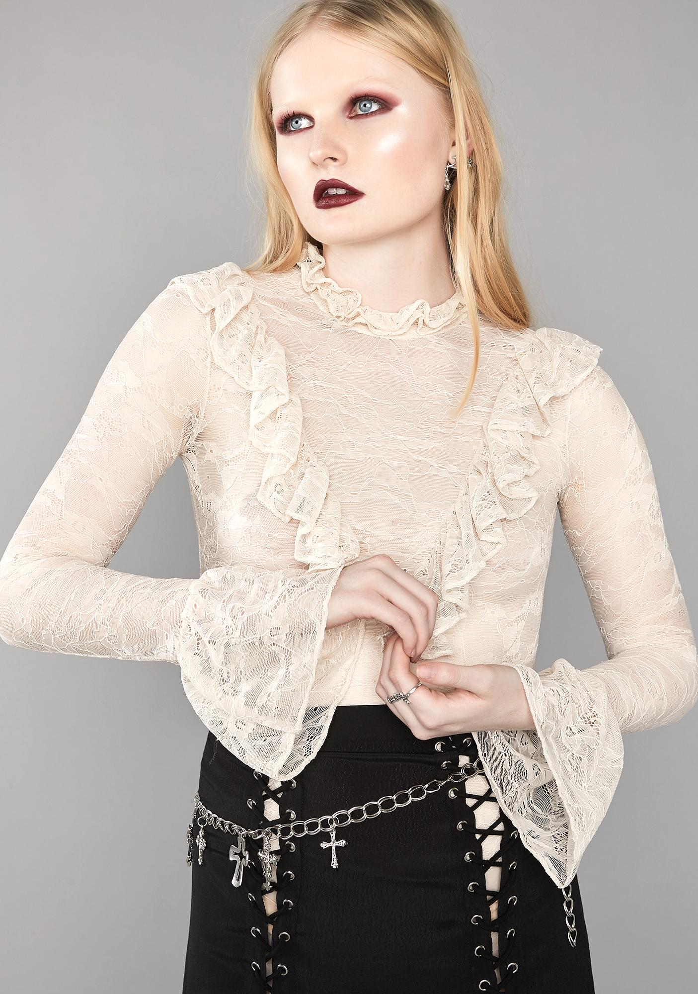 Widow Mourning Heart Lace Top