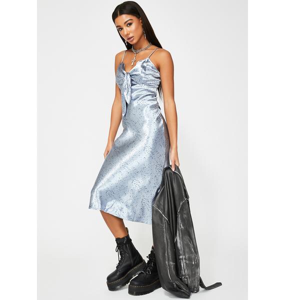 Glamorous Blue Splatter Satin Midi Dress