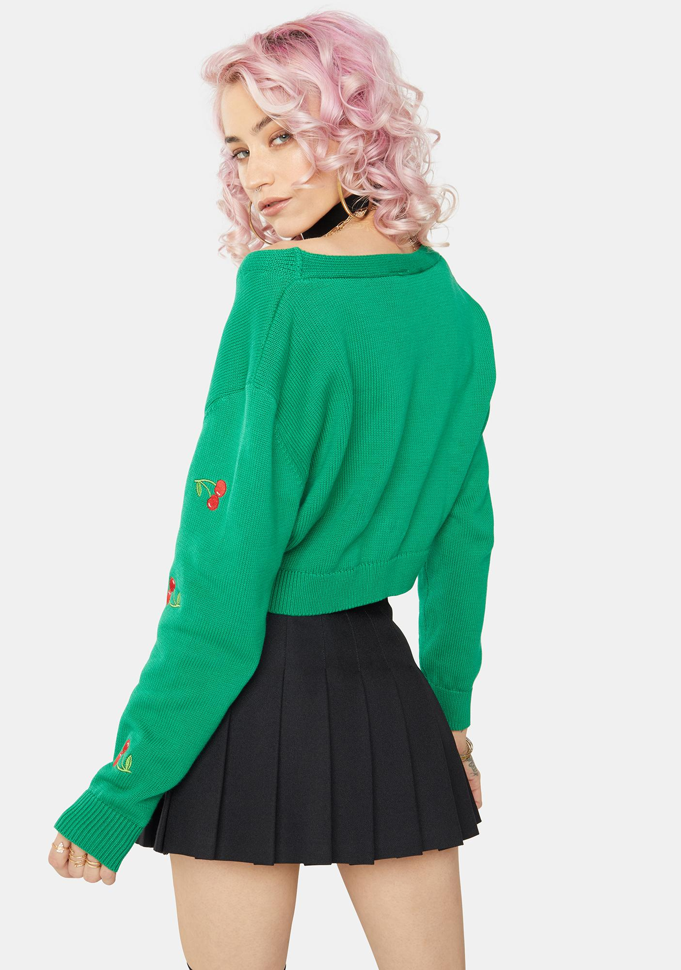 Minga Green Cherry Girl Crop Cardigan