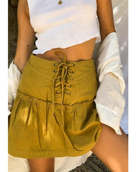 Green Olive Positano Mini Skirt