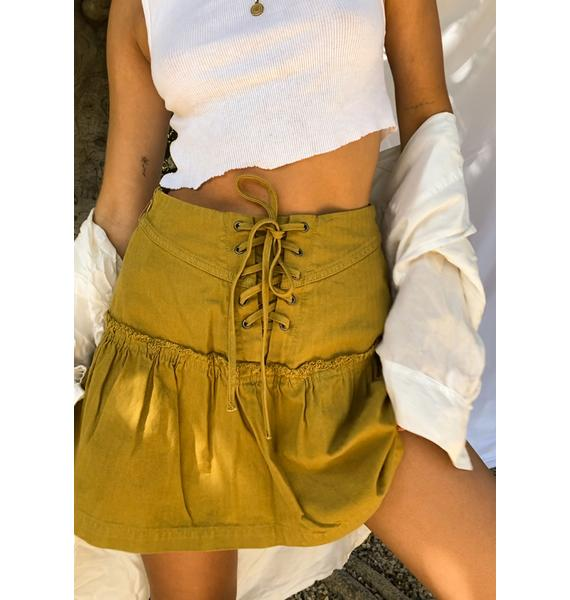 Free People Green Olive Positano Mini Skirt