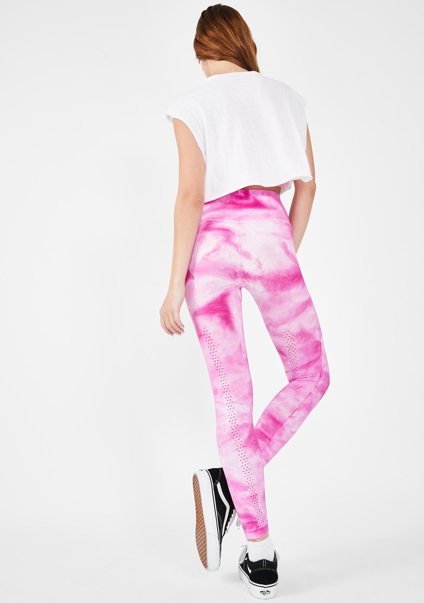 Free People Pink Good Karma Tie Dye Leggings