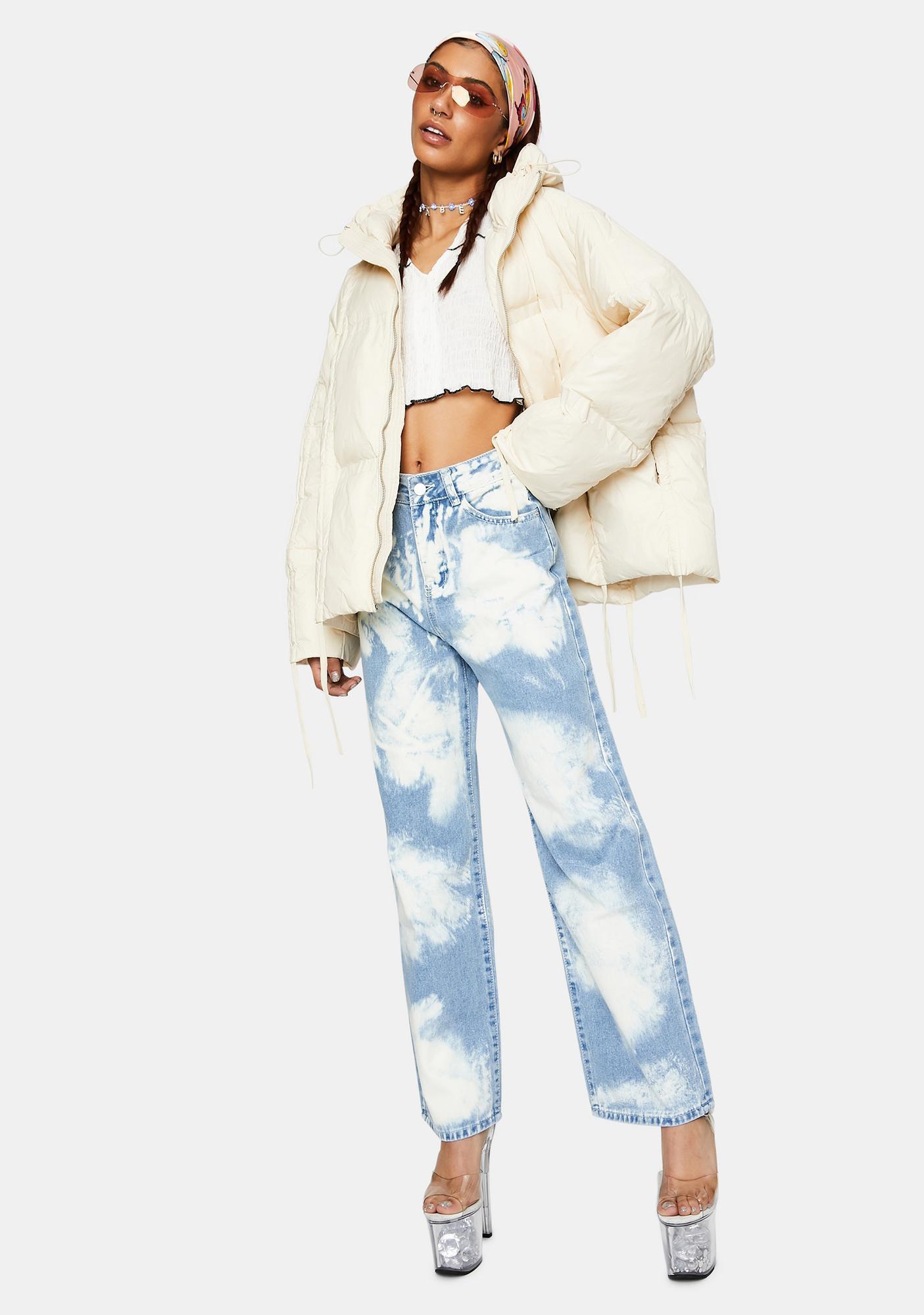 ZEMETA Cream Pull Up Puffer Jacket