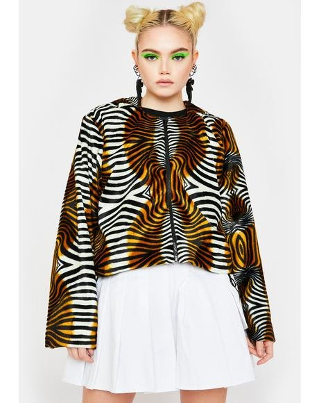 Trippy Tiger Faux Fur Jacket
