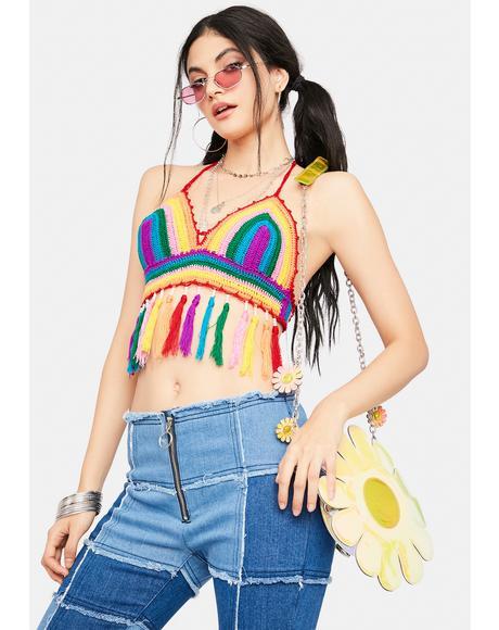 Hippie Bliss Crochet Fringe Bra Top