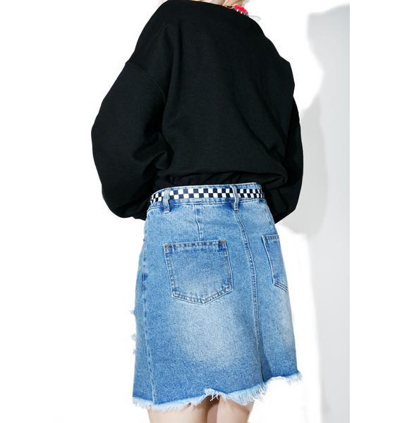 Rebel Radio Distressed Denim Skirt