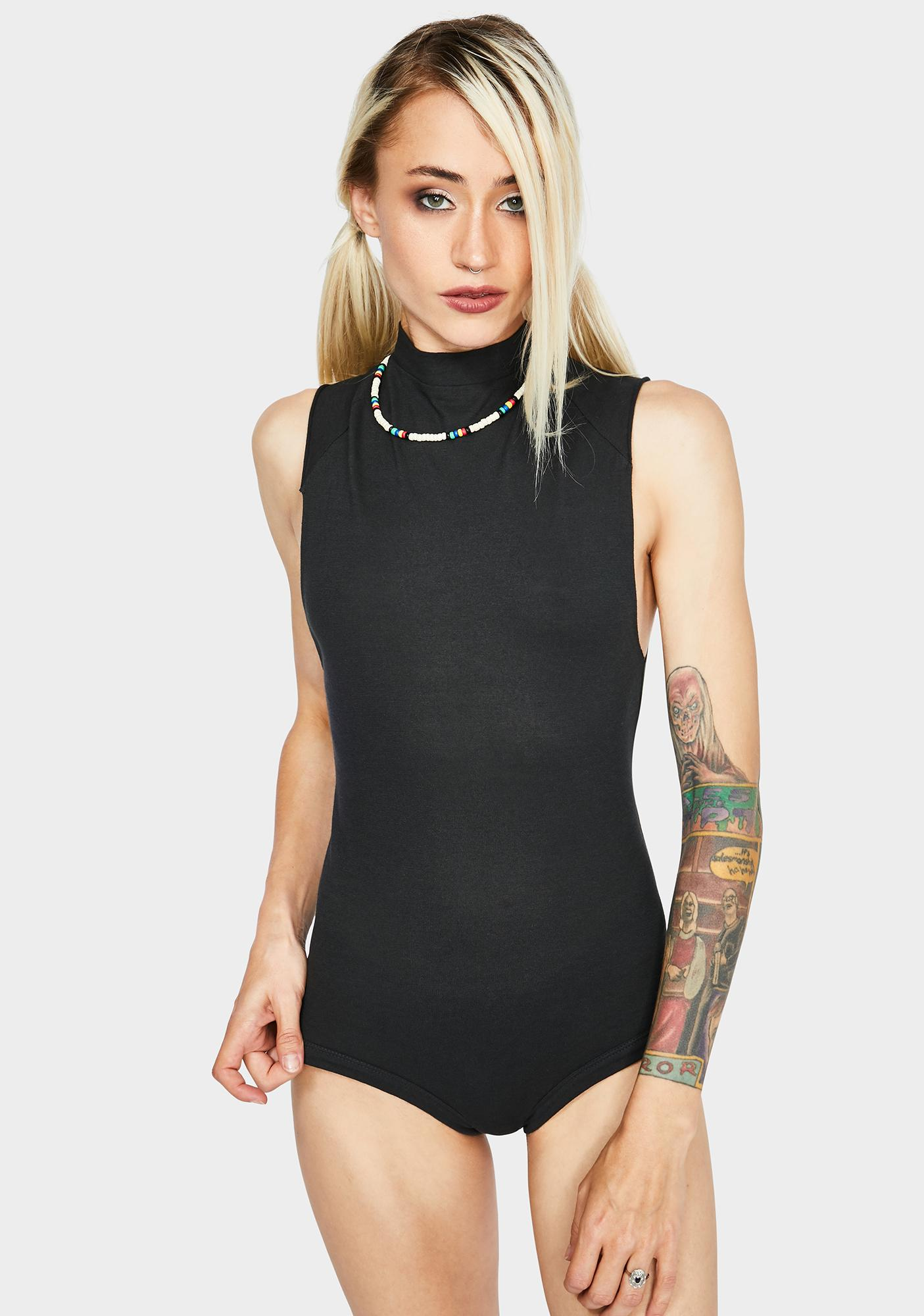 Free People Black Muscle Beach Bodysuit