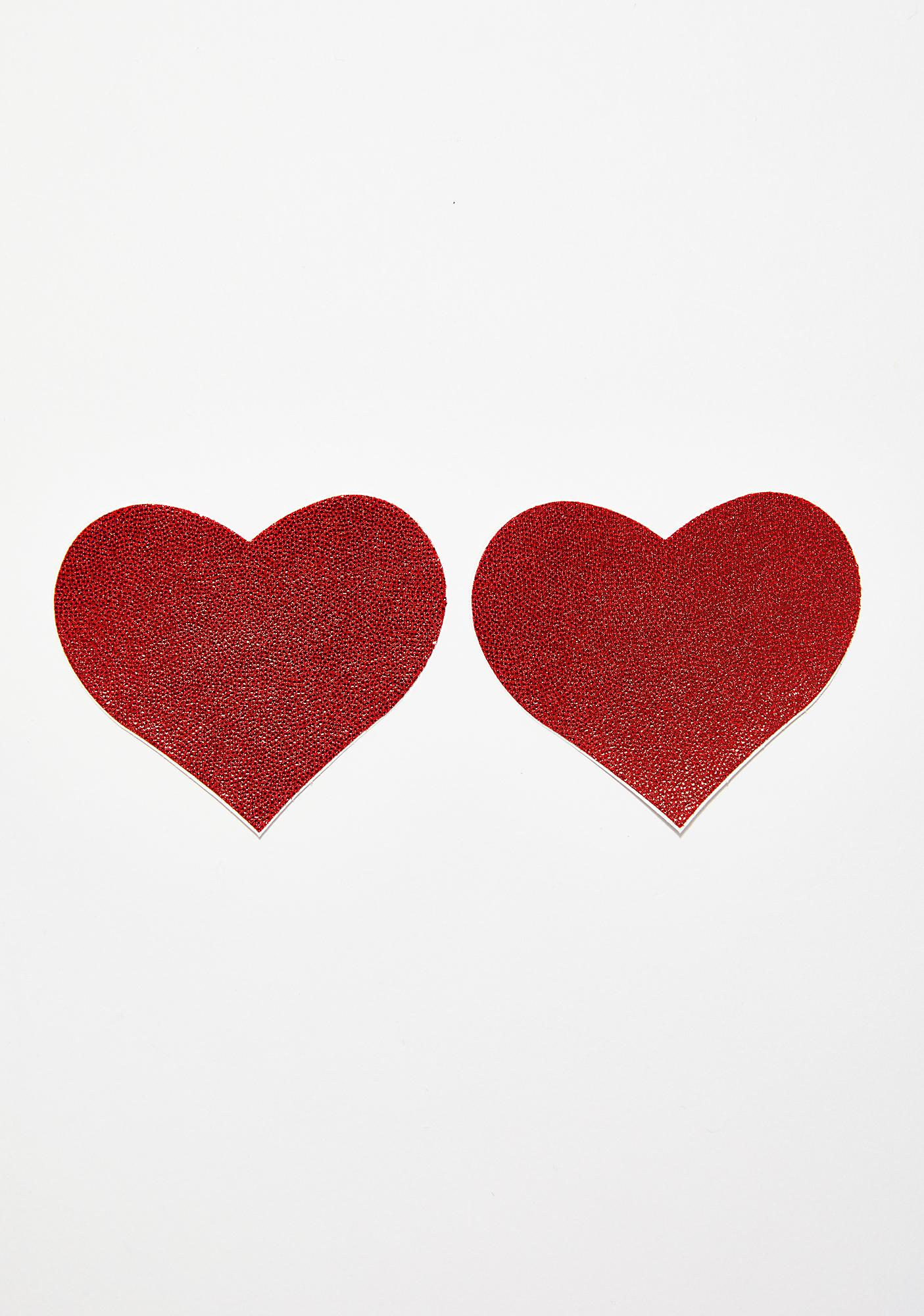 Pastease Metallic Red Heart Pasties