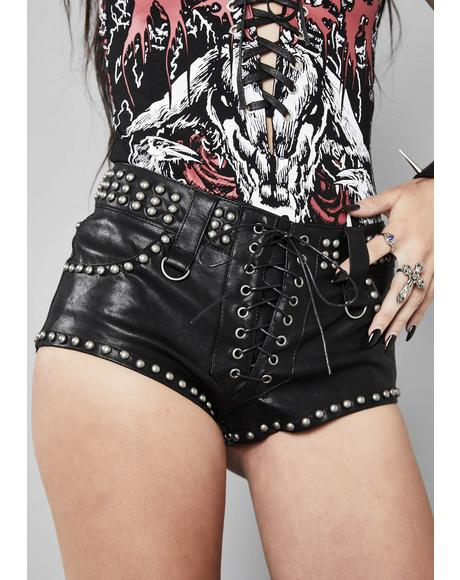 Unholy Oath Studded Shorts