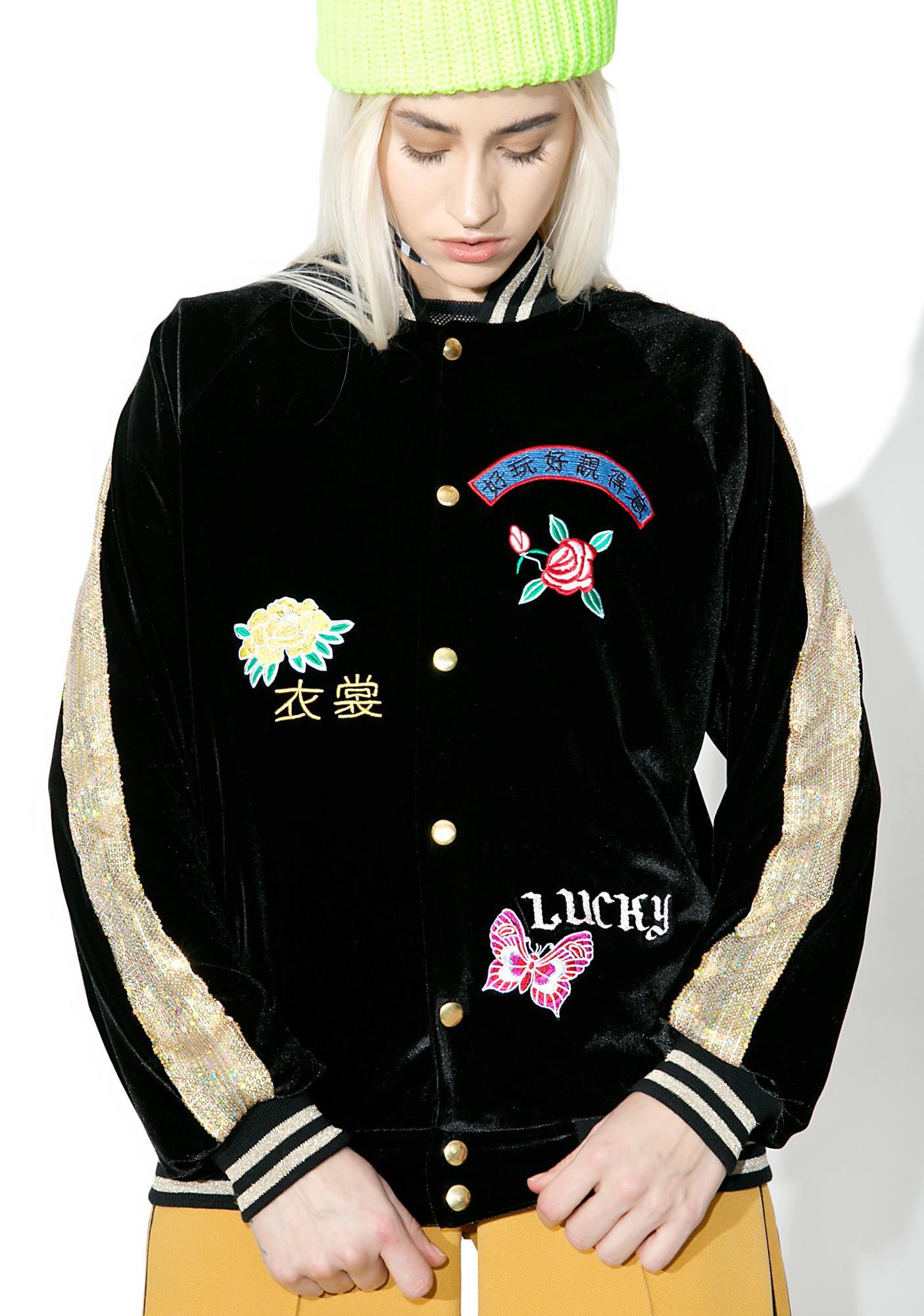 Jaded London Embroidered Velvet & Sequin Bomber Jacket