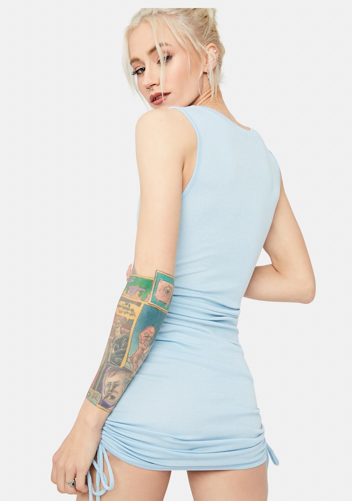 Sky Text Me Back Ruched Tank Dress