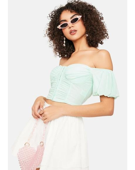 Went There Off Shoulder Puff Sleeve Crop Top