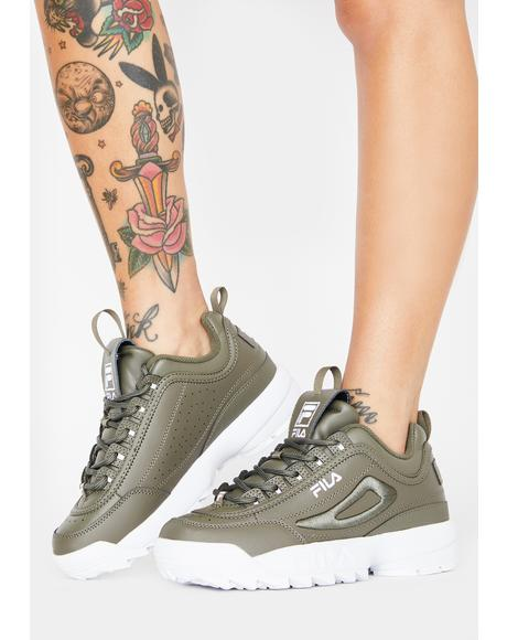 Green Disruptor 2 3D Embroidered Sneakers