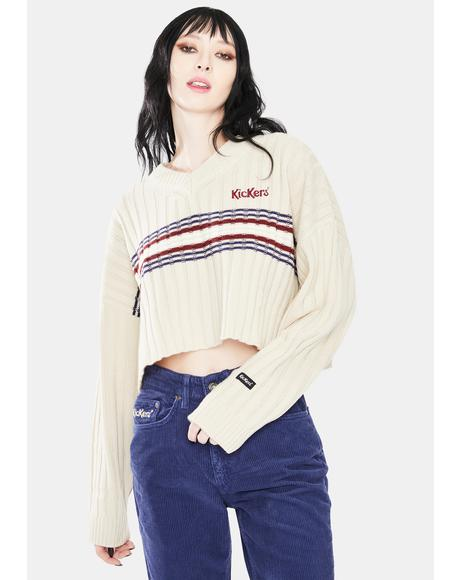 Rib Cropped V-Neck Knit Sweater