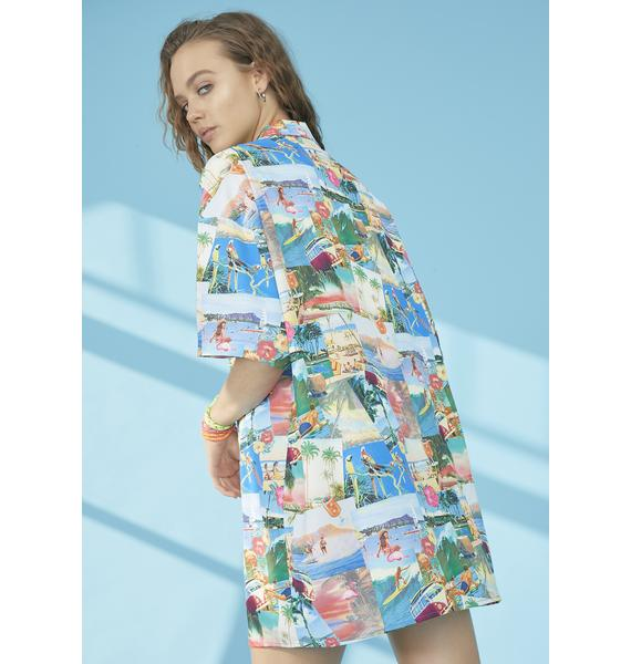 dELiA*s by Dolls Kill Greetings From Paradise Shirt Dress