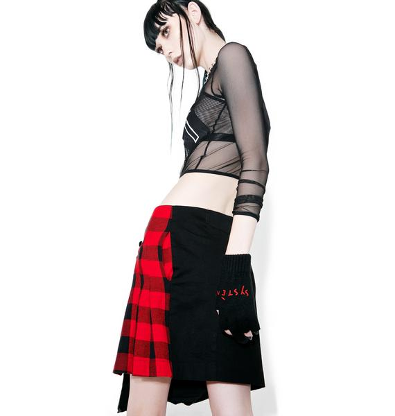 Happiness Fuck Le System Plaid Skirt
