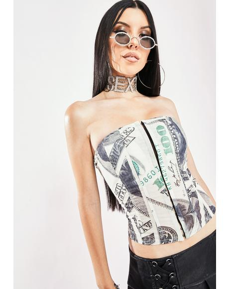 Flashing Cash Corset Top