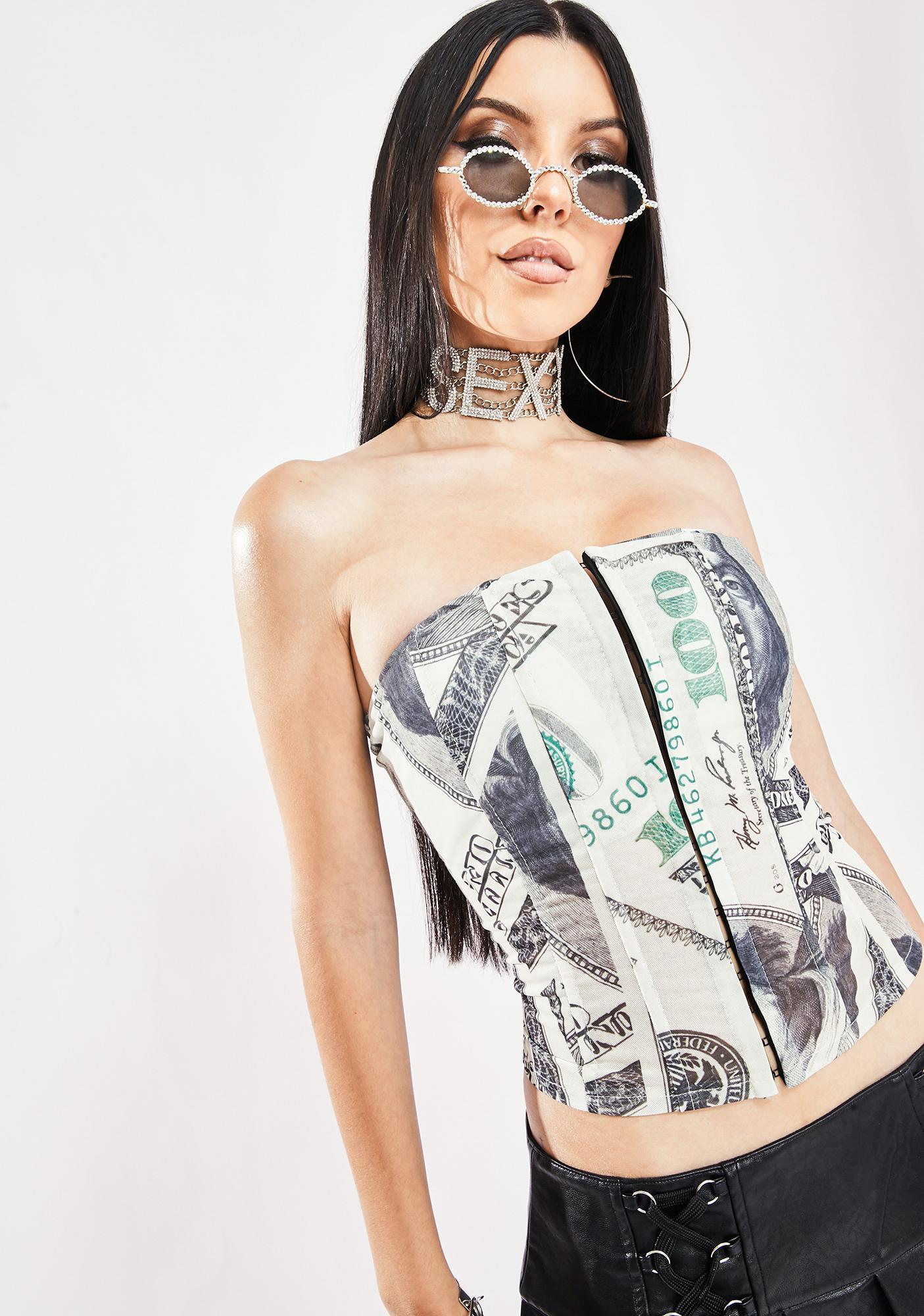 Flashing Cash Corset Top