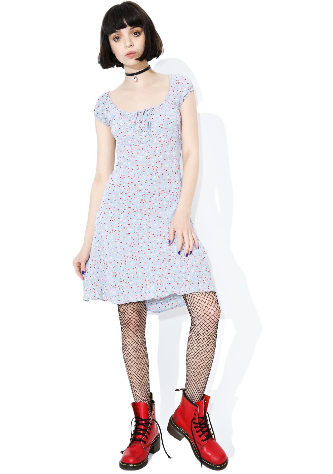 Vintage 90s Dusty Blue Floral Dress