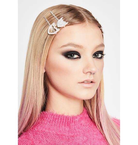 Demon Doll Rhinestone Hair Pins