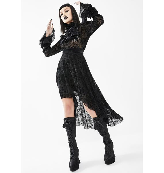 Devil Fashion Lace Bell Sleeve High Low Dress