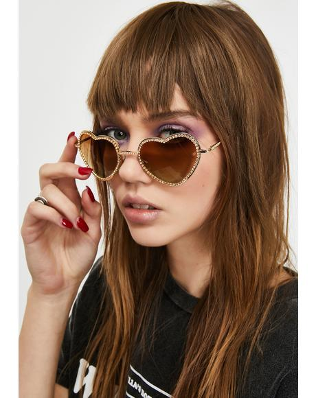 Caramel Buy My Love Rhinestone Sunglasses