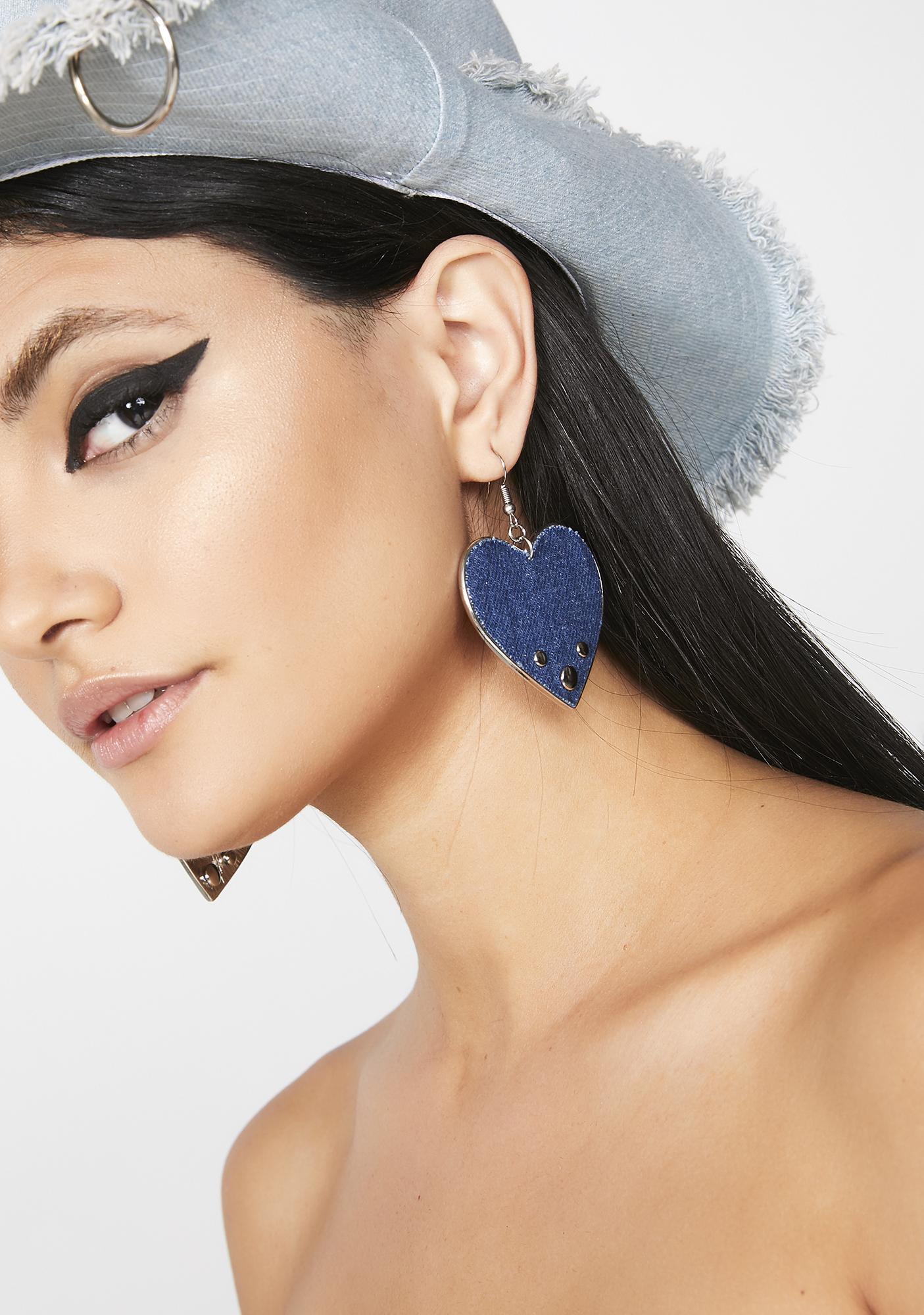 Caught The Blues Heart Earrings