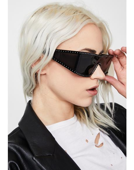 Charcoal Scarlet Starlet Shield Sunglasses
