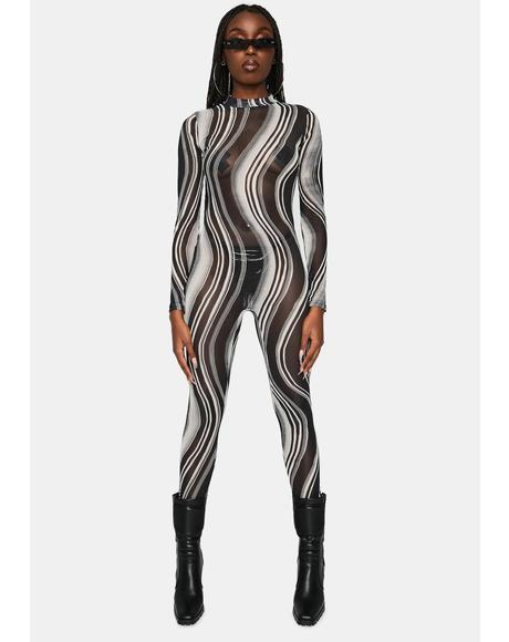 Illusion Trip Mesh Long Sleeve Catsuit