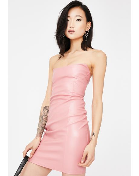 Faux Leather Bandeau Mini Dress