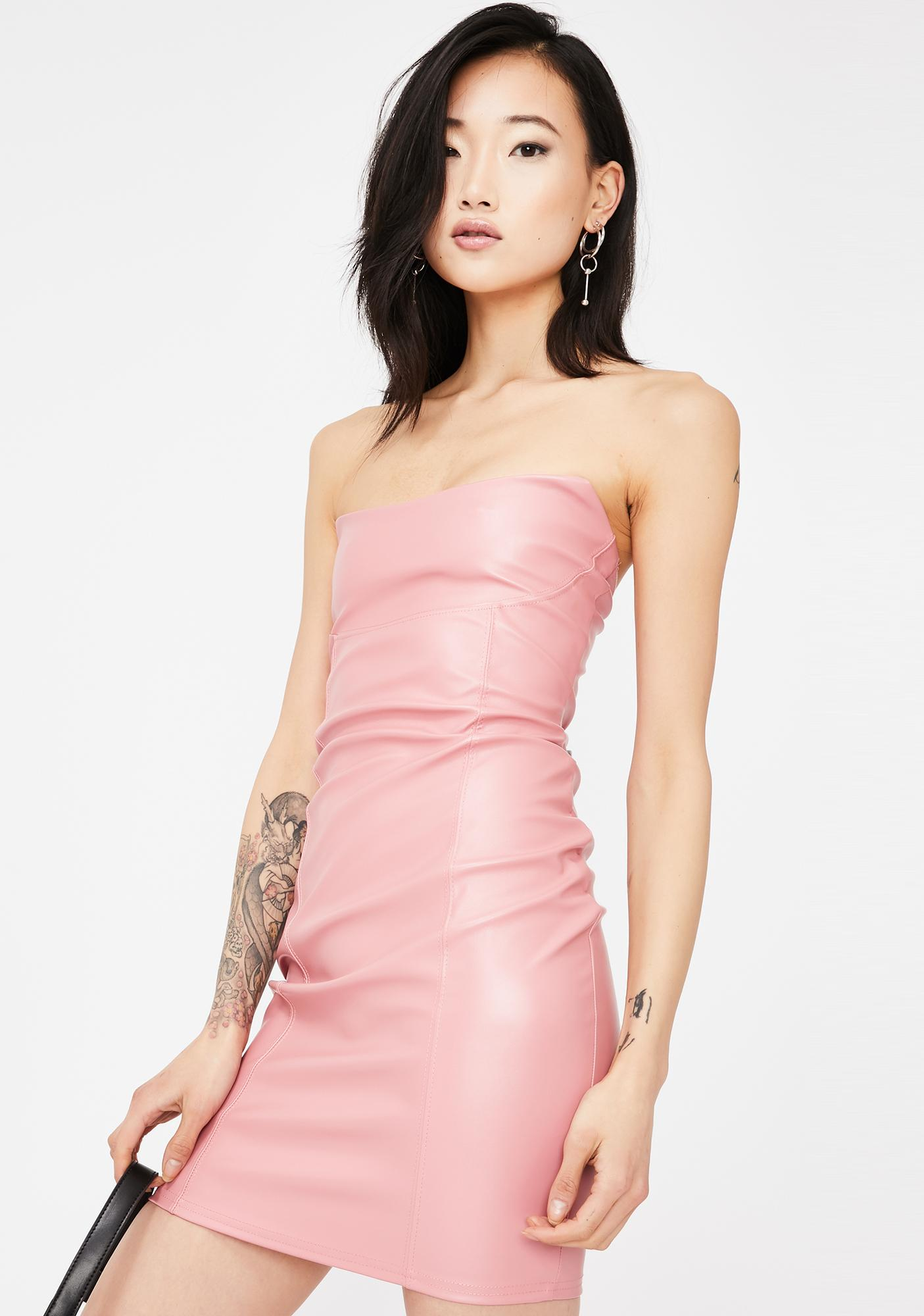 Public Desire Faux Leather Bandeau Mini Dress