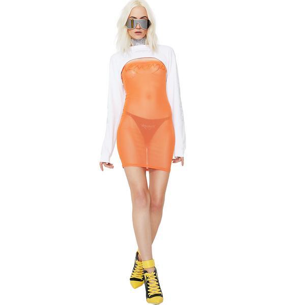 Venomiss NYC Orange Mesh Crystal Tube Dress