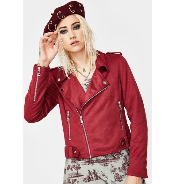 VIGOSS Faux Suede Moto Jacket