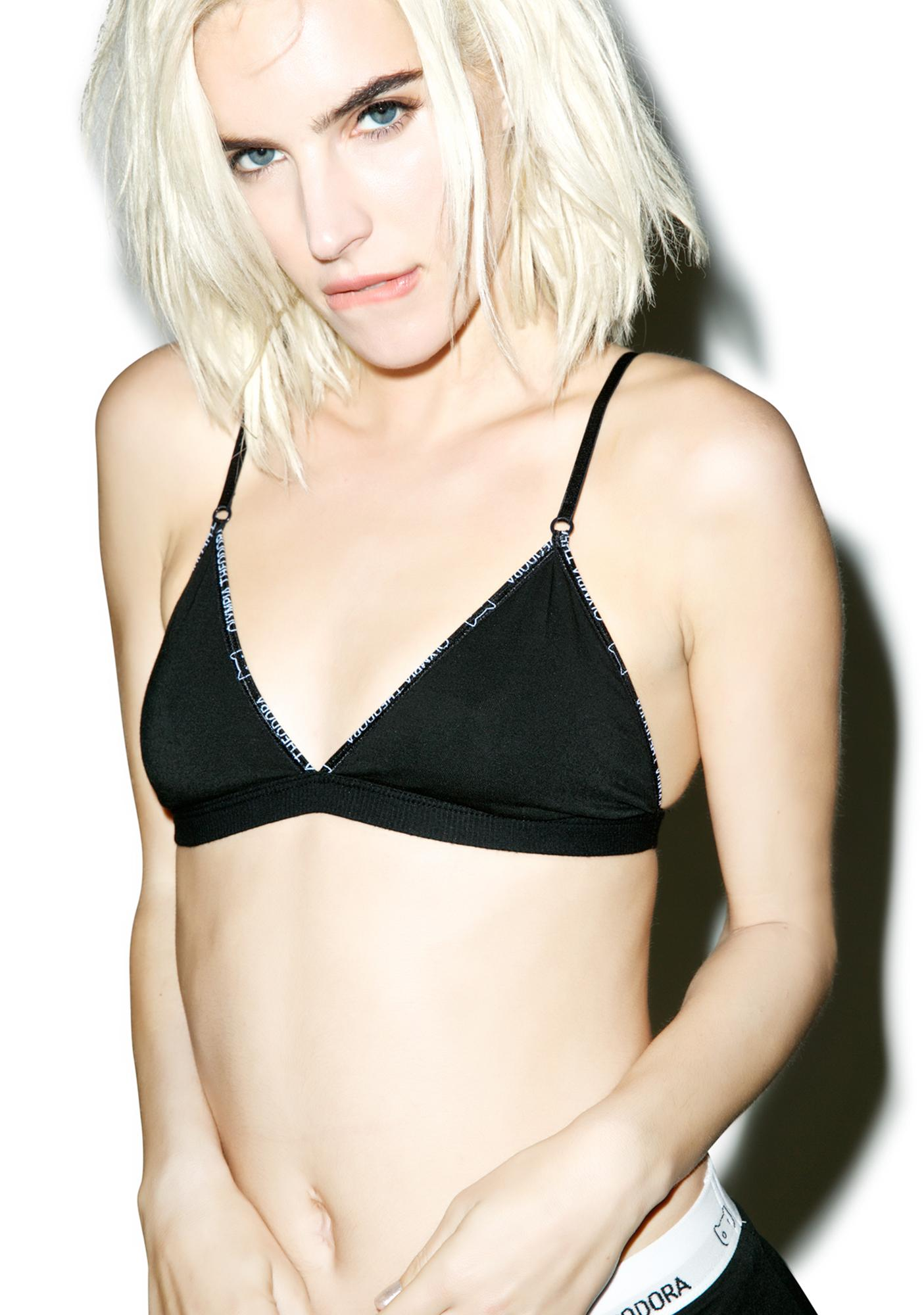 Olympia Theodora Black Cat Triangle Bralette