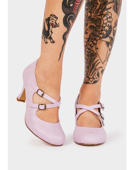 Lavender Flapper Block Heels
