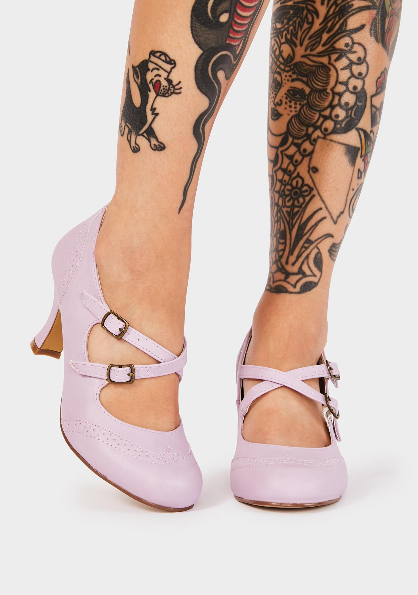 Pin Up Couture Lavender Flapper Block Heels