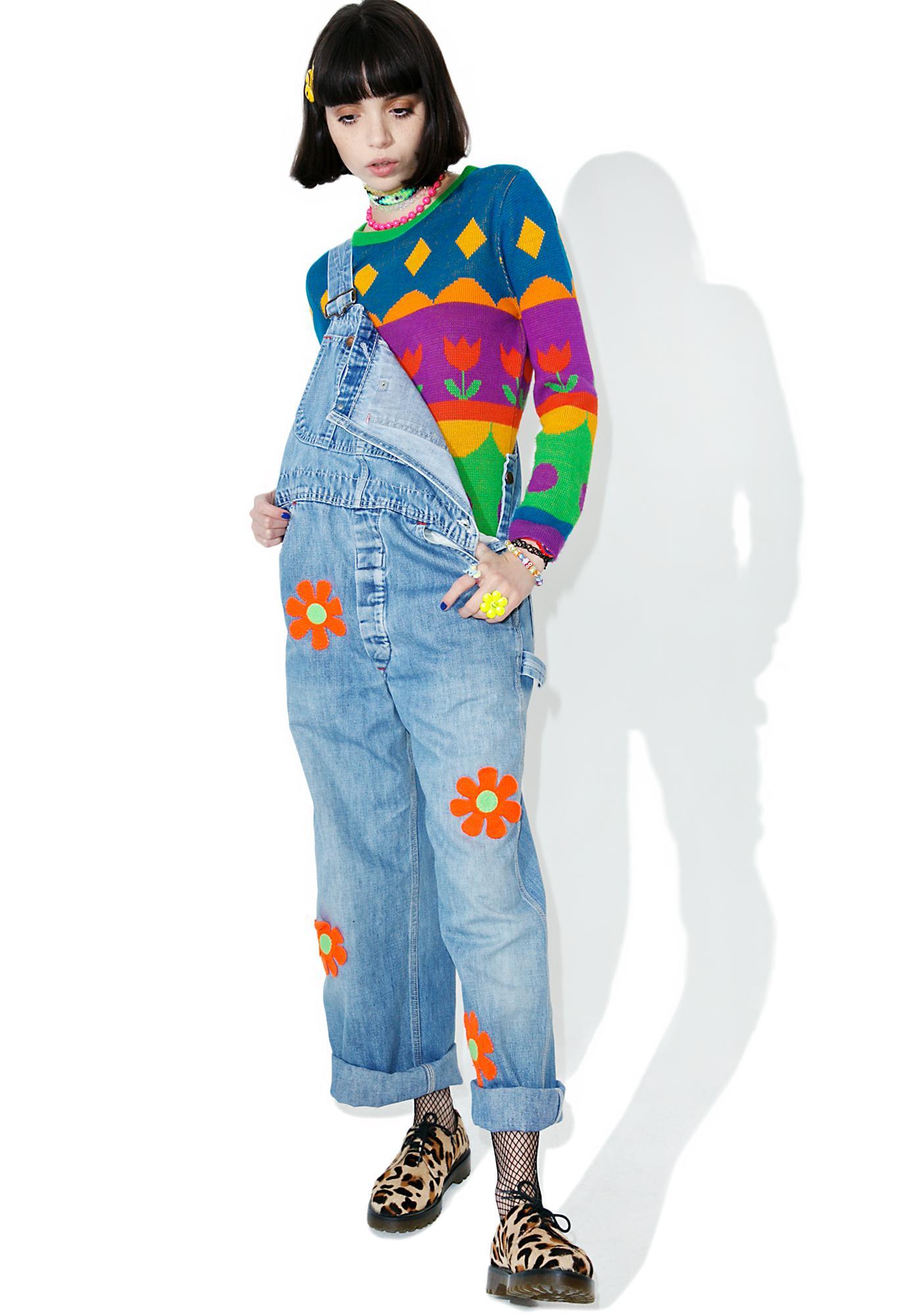 Vintage Rainbow Tulip Sweater