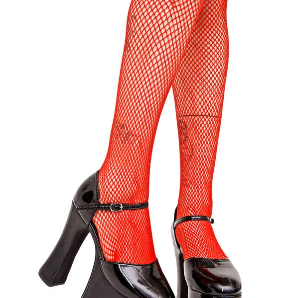 Fire Fine Line Fishnet Tights